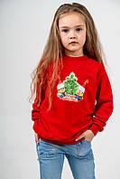 Джемпер детский 5-6 лет из трехнитки петли красного цвета