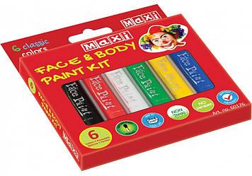 Набір фарб для обличчя та тіла у формі олівця,6 кольорів №MX60176(12)(72)
