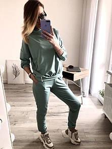 Лилу женский спортивный оверсайз костюм с капюшоном фисташковый