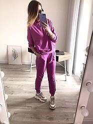 Лилу женский спортивный оверсайз костюм с капюшоном лиловый