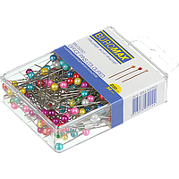 Шпильки кольорові 34 мм 200 шт в пласт коробці