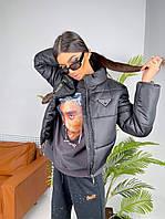 Женская короткая куртка в стиле Prada черная, бежевая