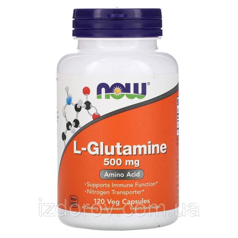 Now Foods, L-глутамин, аминокислота L-Glutamine, 500 мг, 120 растительных капсул