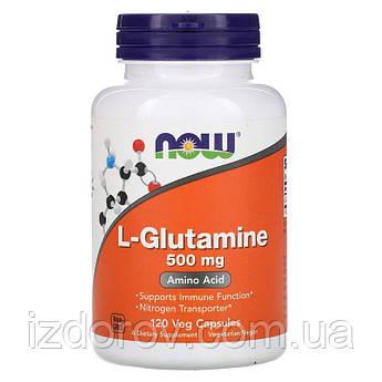 Now Foods, L-глутамін, амінокислота L-Glutamine 500 мг, 120 рослинних капсул