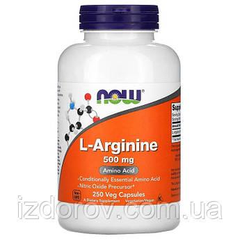 Now Foods, L-аргінін 500 мг, амінокислоти L-Arginine, 250 капсул