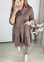 Женское легкое свободное мини платье свободного кроя малиновое белое кофейное 42-44,46-48, 50-52