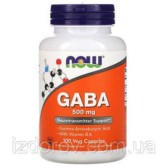 Now Foods, ГАМК 500 мг, GABA, гамма-аміномасляна кислота, 100 рослинних капсул
