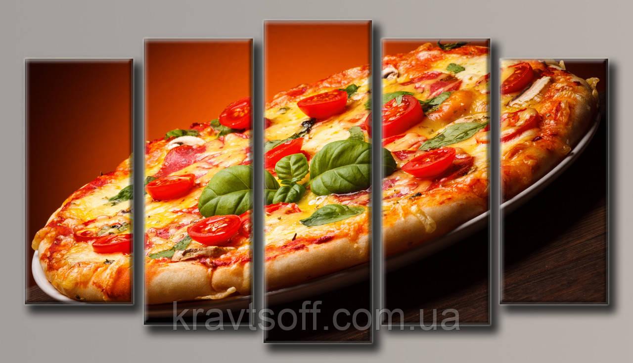 "Модульная картина на холсте из 5 частей ""Пицца""  ( 71х128 см ) арт.HAB-052"