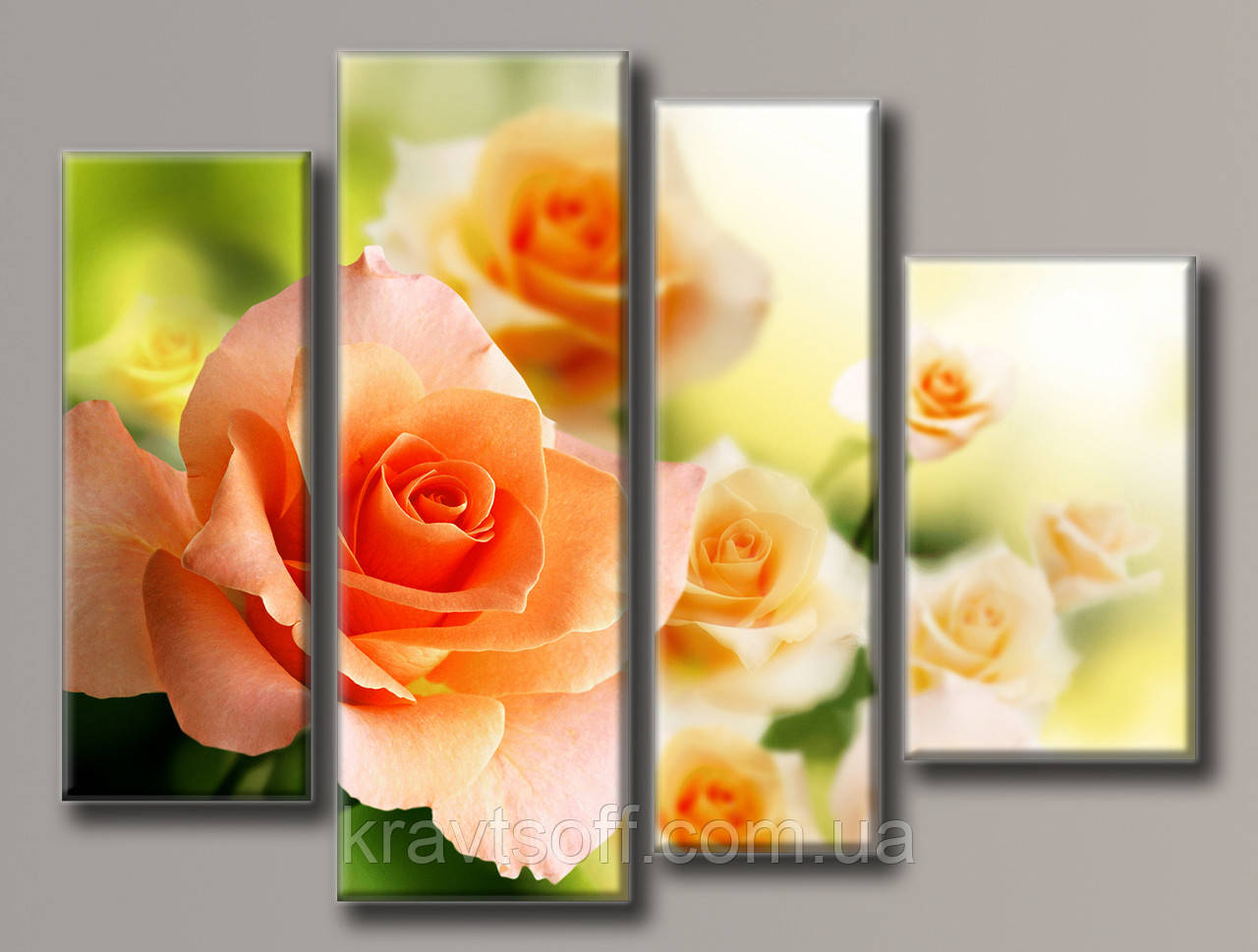 "Модульная картина на холсте из 4-х частей ""Розовые розы"" ( 70х93 см ) арт.HAF-106"