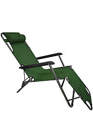 Шезлонг лежак Bonro 178 см темно-зеленый (70000008)