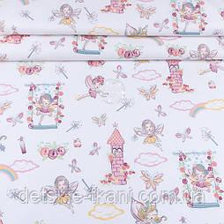 """Ранфорс шириною 240 см """"Феї і рожеві замки"""" на білому (№3431)"""