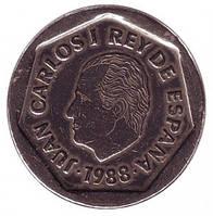 Хуан Карлос I. Монета 200 песет. 1988 год, Испания.. (Г)