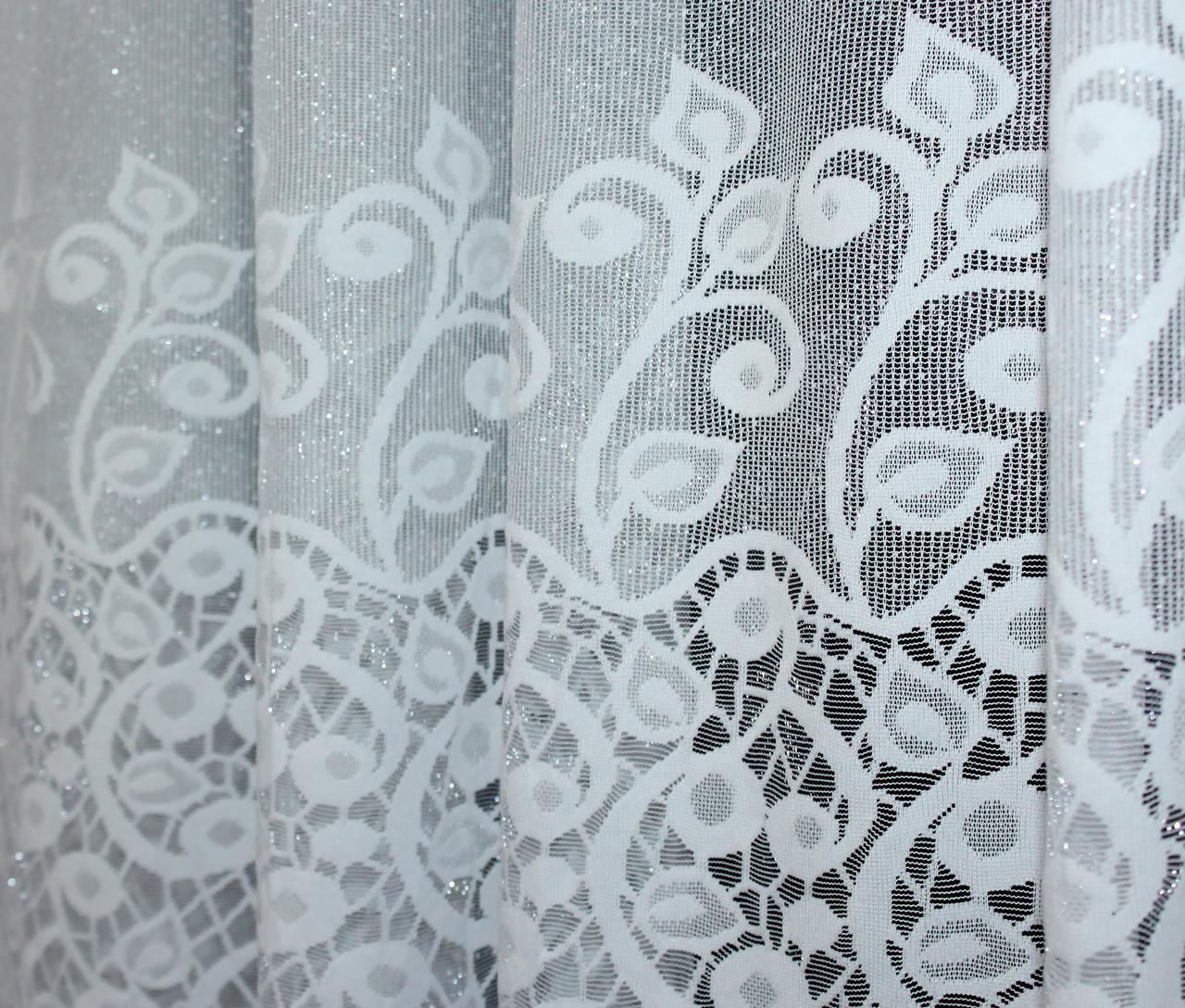 """Відріз (3,3х2,7м) тканини, залишок з рулону, жаккард """"Преміум"""" з галстуком. Колір білий з вишивкою. Код 645ту 00-302"""