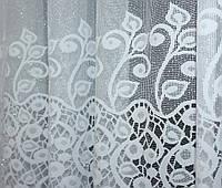 """Відріз (3,3х2,7м) тканини, залишок з рулону, жаккард """"Преміум"""" з галстуком. Колір білий з вишивкою. Код 645ту 00-302, фото 1"""