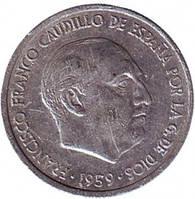Монета 10 сантимов. 1959 год, Испания. Из обращения..(Г)