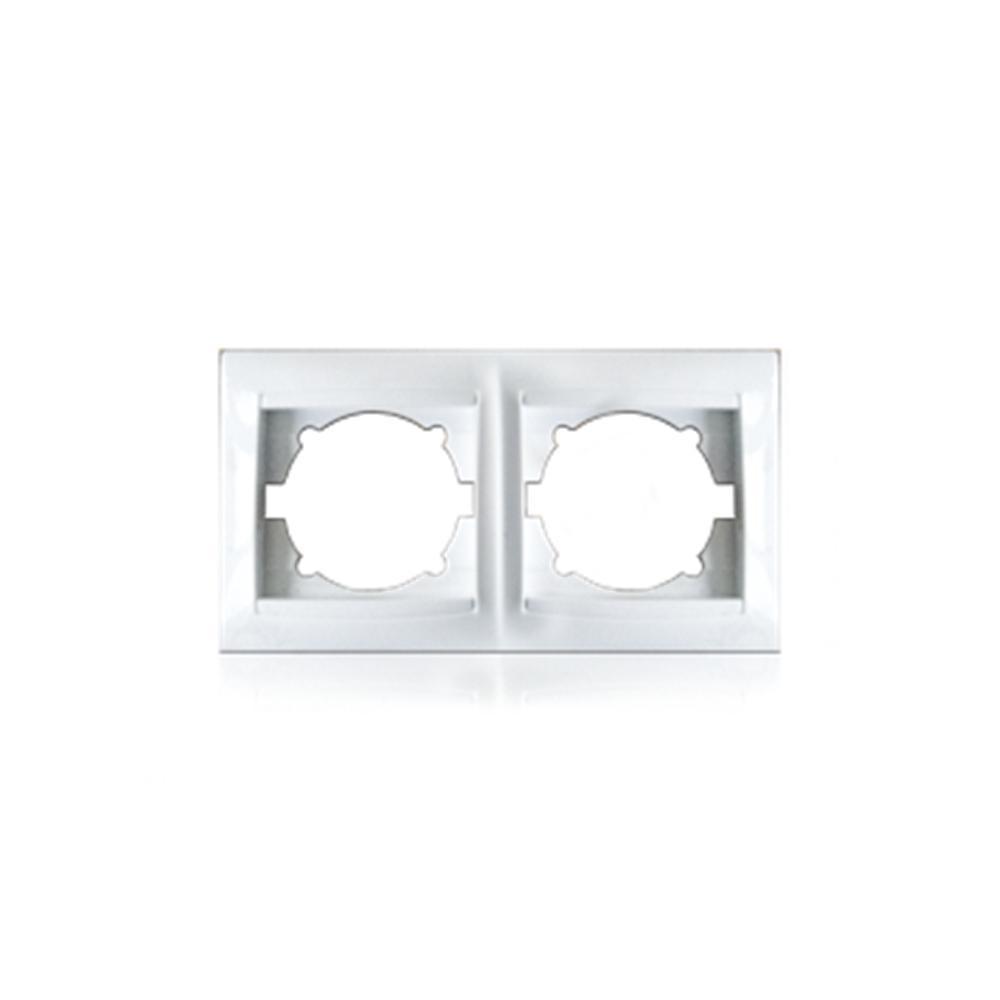 Рамка двомісна для розеток та вимикачів Erste Prestige біла (9206-82)