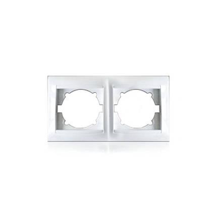 Рамка двомісна для розеток та вимикачів Erste Prestige біла (9206-82), фото 2