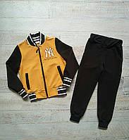 """Спортивний костюм дитячий для хлопчика """"NY"""" 104-122 см Жовтий"""