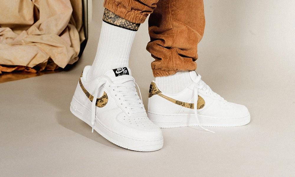 Кросівки чоловічі Nike Air Force 1 Low Retro Premium QS Ivory Snake в стилі найк форси Білі (Репліка ААА+)