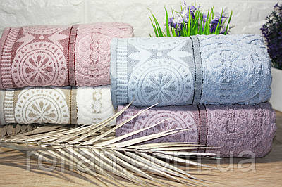 Банные турецкие полотенца Cestepe Lux Aster Пудра