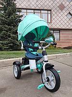 Трехколесный велосипед с фарой и поворотным сиденьем Azimut Crosser T503 AIR, бирюза