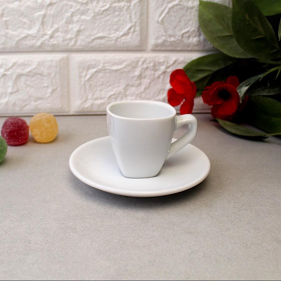 Чашка для эспрессо с блюдцем Horeca HLS 70 мл (HR1312), белая посуда для кафе