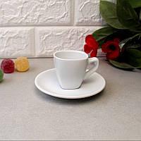 Чашка для еспрессо з блюдцем Horeca HLS 70 мл (HR1312), білий посуд для кафе