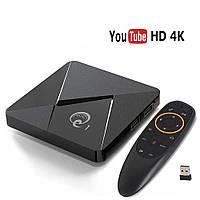 Смарт ТВ приставка 2 /16 Гб Q1 Ultra HD SmartTV Андроид Android TV box 4K + пульт Air Mouse G20