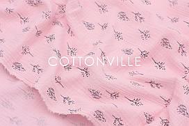 Муслин жатка Веточки на розовом 135 см
