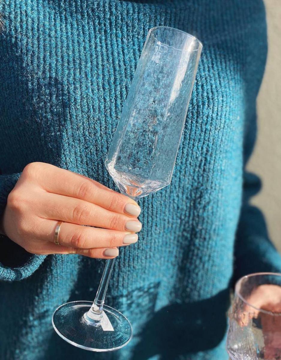 Прозрачный бокал DS Transparent Turquoise с золотой каемкой для шампанского 250 мл
