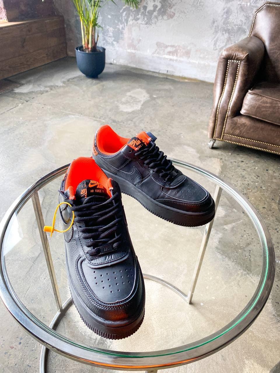 Кроссовки мужские Nike Air Force Shadow Black/Orange черные. Стильные мужские кроссовки Найк черного цвета.