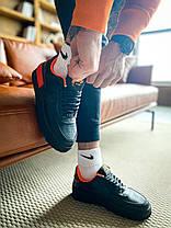 Кроссовки мужские Nike Air Force Shadow Black/Orange черные. Стильные мужские кроссовки Найк черного цвета., фото 3