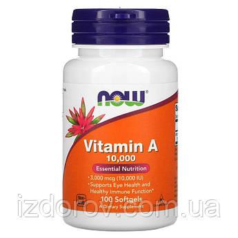 Now Foods, Вітамін A 10 000 МО в капсулах для шкіри обличчя, росту волосся, брів і вій, 100 шт