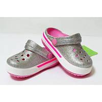 Крокс детские серебристые Crocs Crocband Glitter Silver (Kids)