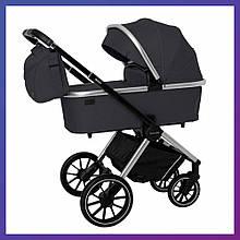 Дитяча універсальна коляска CARRELLO Optima CRL-6503 (2in1 Platinum Grey темно-сіра в льоні гумові колеса