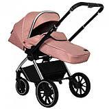 Детская универсальная коляска CARRELLO Optima CRL-6503 (2in1 Platinum Grey темно-серая в льне резиновые колеса, фото 7