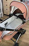 Детская универсальная коляска CARRELLO Optima CRL-6503 (2in1 Platinum Grey темно-серая в льне резиновые колеса, фото 8
