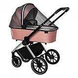 Детская универсальная коляска CARRELLO Optima CRL-6503 (2in1 Platinum Grey темно-серая в льне резиновые колеса, фото 10
