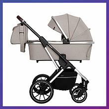 Дитяча універсальна коляска CARRELLO Aurora CRL-6505 (2in1) Almond Beige бежева гумові колеса + дощовик