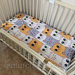 Хлопковая простынь на резинке для детского матраса 120х60 см, цвет на выбор