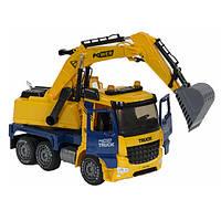 Экскаватор большой игрушка детская музыкальная Truck инерционный со светом и звуком 42 см Желтый (9933)