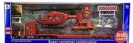 Игровой набор пожарной техники с вертолетом и автовозом