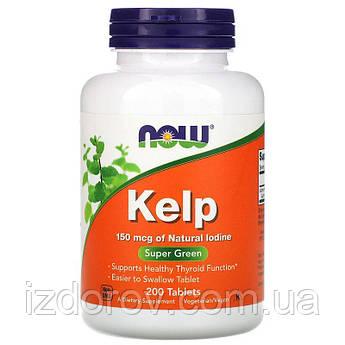 Now Foods, Келп 150 мкг натурального йода, здоровье щитовидной железы, Kelp, 200 таблеток