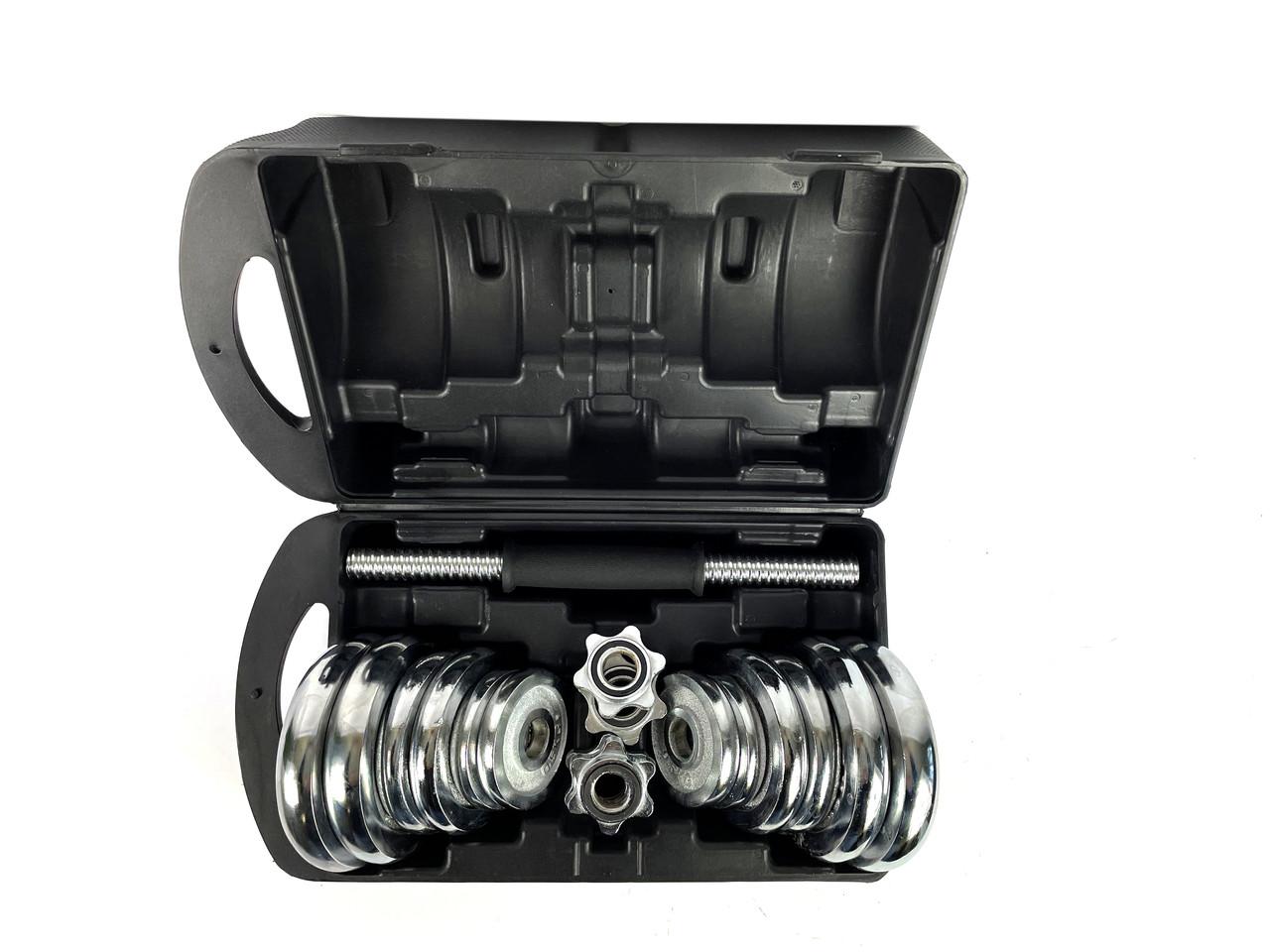 Комплект хромованих гантелей NEO-SPORT - 20 кг в боксі, розбірних із змінними дисками, фото 5