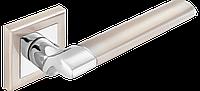 Ручка дверная A-2006 SN/CP матовый никель/ полированный хром