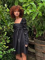 Красивое женское платье с длинным рукавом (черное, голубое. белое)