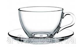 Чашка з блюдцем для чаю Pasabahce Basic 220 мл 97948