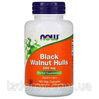 Now Foods, Скорлупа черного грецкого ореха 500 мг, Black Walnut Hulls, 100 растительных капсул
