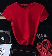 Жіноча однотонна футболка базова, Жіноча стильна трикотажна футболка кулір (чер бел беж крас)48-50 батал