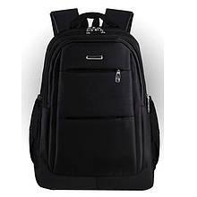 Мужской классический черный рюкзак повседневный, городской, деловой, офисный